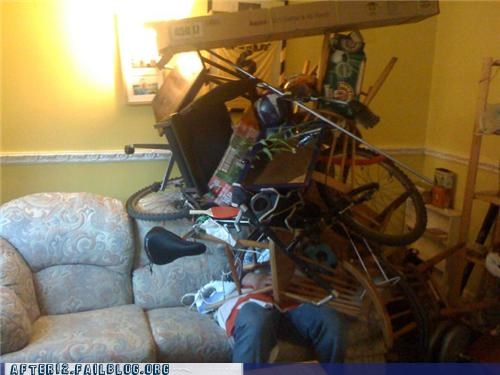 bike,cardboard,drunk,passed out,stacking
