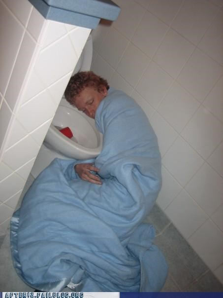 bathroom,blanket,drunk,passed out,puke,red cup,toilet,vomit