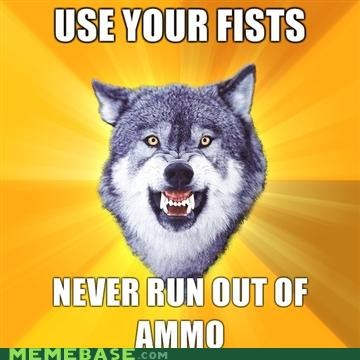 ammo,Courage Wolf,fists,gun