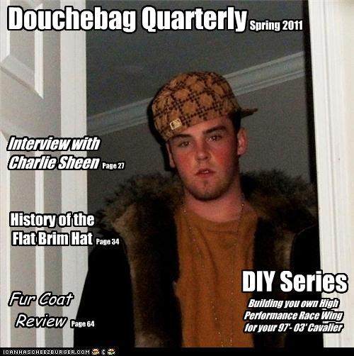Charlie Sheen,douchebag,flat brim hats,fur coats,magazine,race wing
