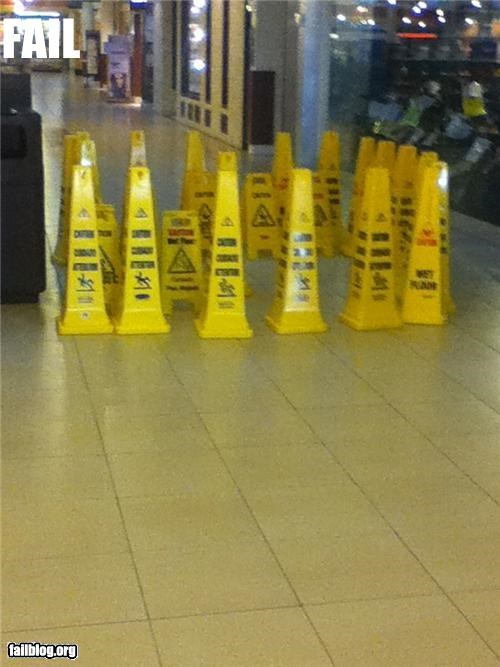 wet floor signs these were grouped like this in a mall