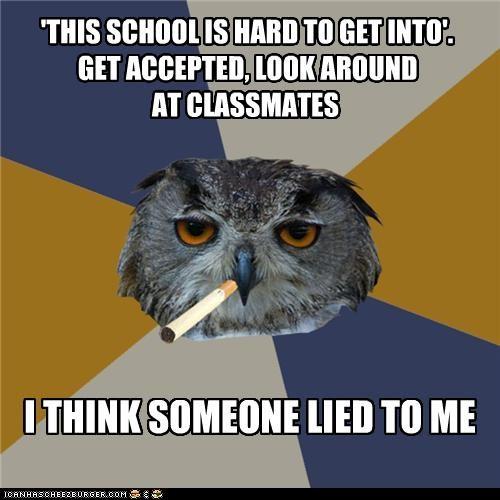 acceptance animemes Art Student Owl classmates college lies - 4593989632