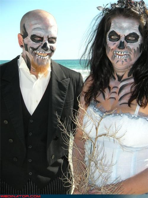 bride,funny wedding photos,groom,zombie wedding