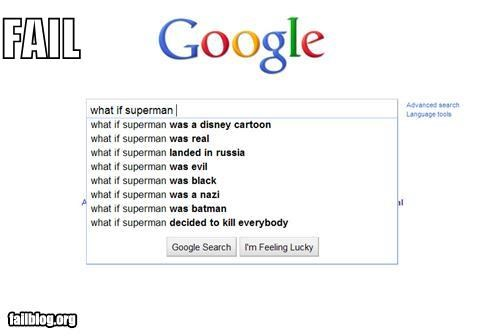 Autocomplete Me,failboat,google,searches,superheroes,superman