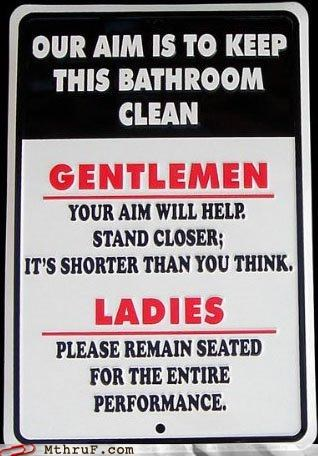 aim gentlemen ladies passive aggressive pee sign toilet
