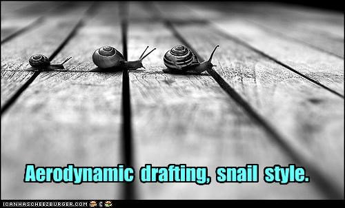 aerodynamic,caption,captioned,drafting,drag,racing,reducing,slow,snail,snails