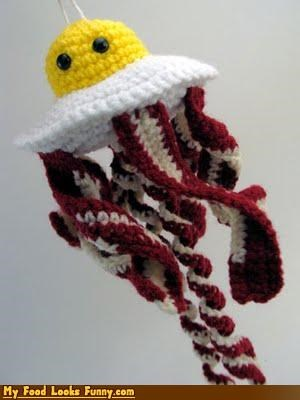 art,bacon,breakfast,crochet,eggs,inedible,jellyfish,sculpture,yarn
