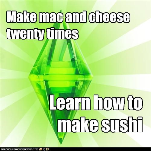 cooking,level up,mac and cheese,sushi