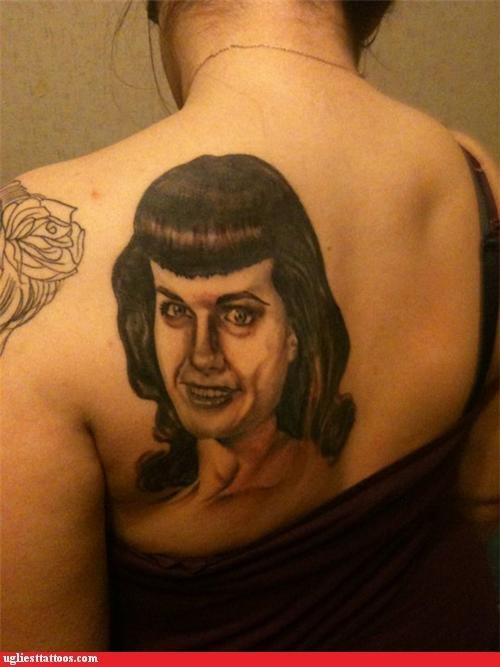 portraits,tattoos,funny,g rated,Ugliest Tattoos,Bettie Page