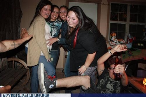 drunk fall Gravity Party photobomb