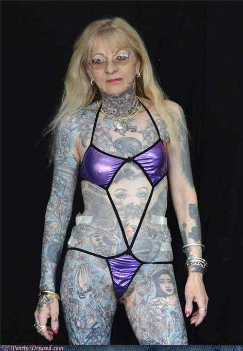 bikini grandma scary tattoos weird wtf