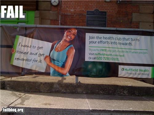 Ad drugs failboat health club oops phrase sign