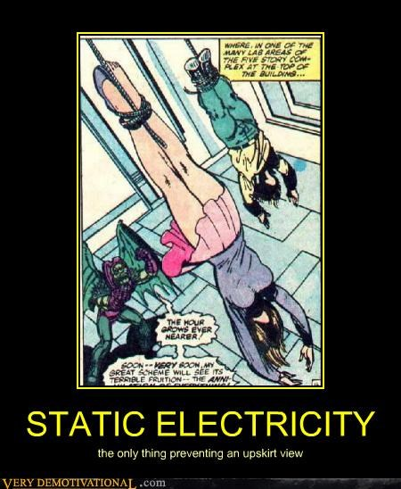 STATIC ELECTRICITY the only thing preventing an upskirt view