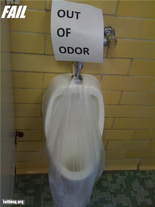 bathrooms,failboat,g rated,gross,irony,odor,out of order,sign,spelling,urinals