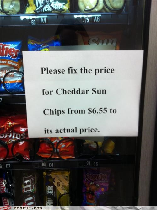 cheddar chips note price sun chips vending machine