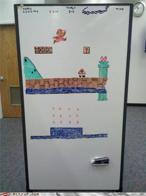 art,awesome,boredom,creativity,mario,whiteboard,win
