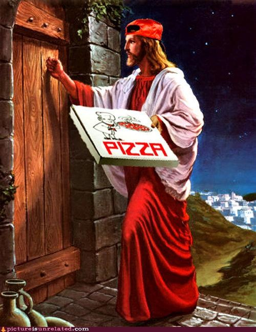 delivery,jesus,photoshopped,pizza