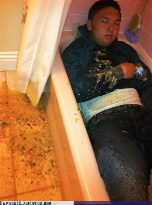 bath,passed out,vomit,wtf