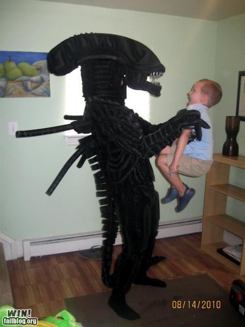 Aliens costume cute kids movie reference scary
