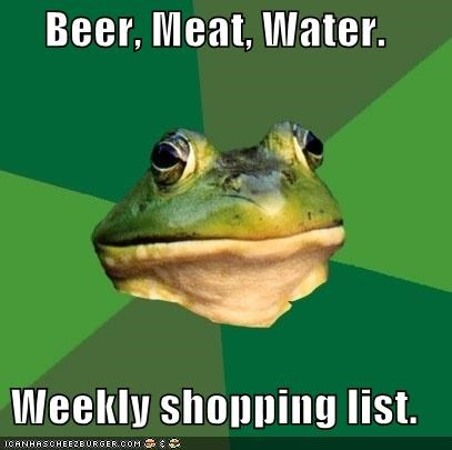 beer,foul bachelor frog,meat,shopping list,water