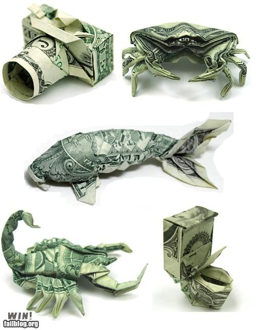 dollar bills,money,neat,origami,poll