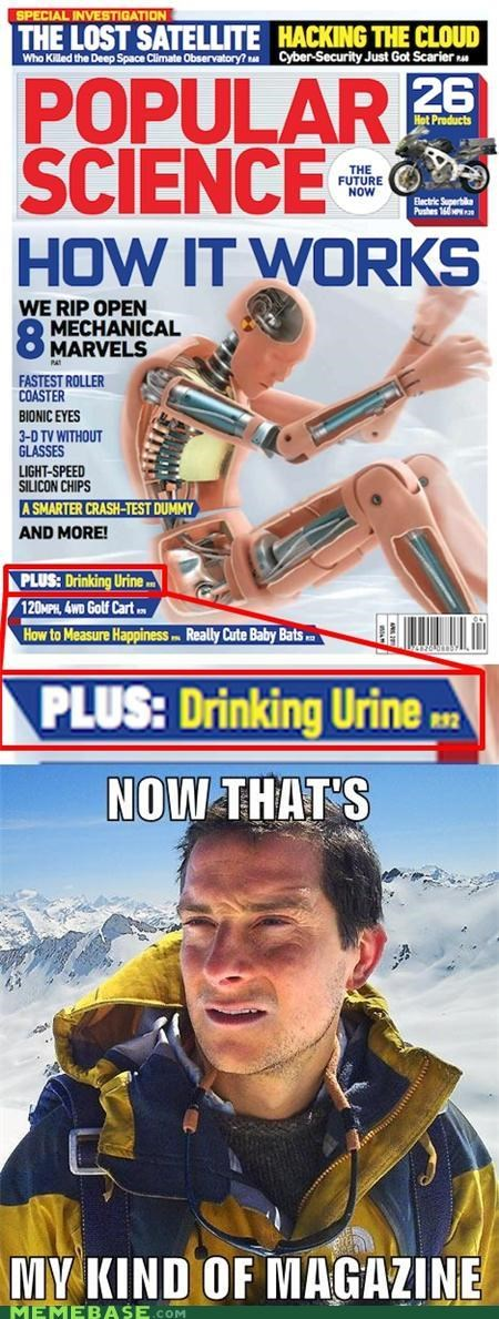 bear grylls,drinking urine,magazine,popular science
