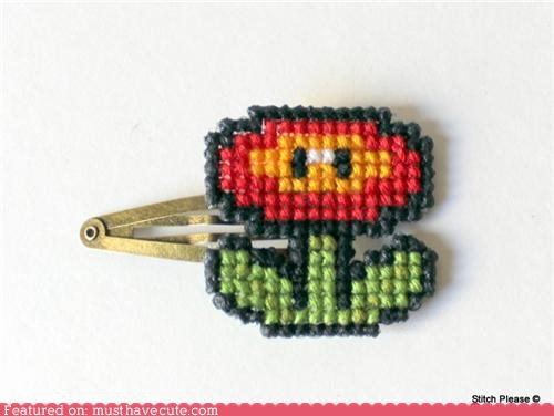 accessory,clip,fire flower,hair,mario,Super Mario bros,video game