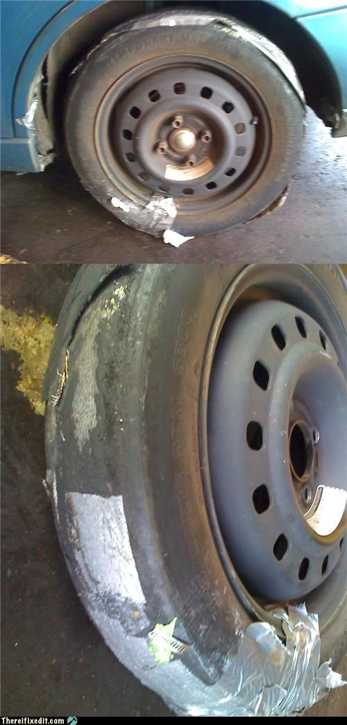cars,dangerous,duct tape,tires,wheels