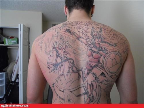 not finished,tattoos,warriors,funny,g rated,Ugliest Tattoos