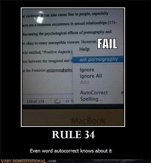 Rule 34 Demotivational Poster of autocorrect having some freaky taste and that is alright