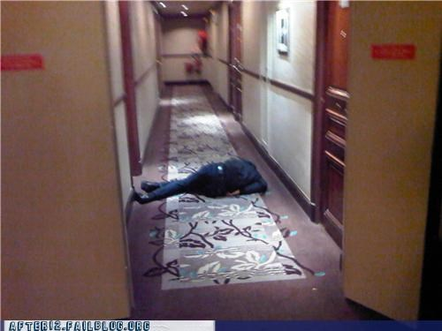 drunk,floor,hallway,hotel,passed out