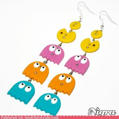 accessories,Bling,earrings,ghosts,Jewelry,pac man