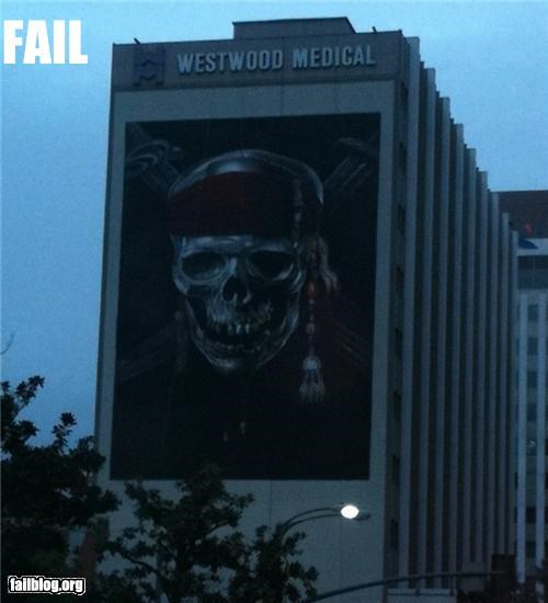 ads building failboat g rated hospital irony location placement skulls
