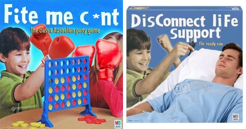 Funny connect four game box parodies, shitposting, photoshops.