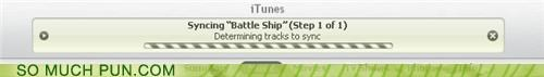 apple,Battle,battle ship,double meaning,homophone,iTunes,ship,sink,sinking,sync,syncing
