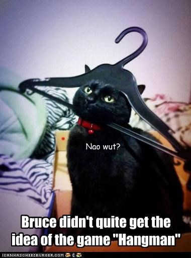"""Bruce didn't quite get the idea of the game """"Hangman"""" Nao wut?"""