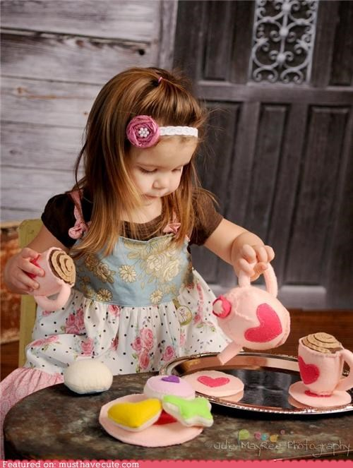 cookies felt play tea tea cups teapot toys - 4603936000