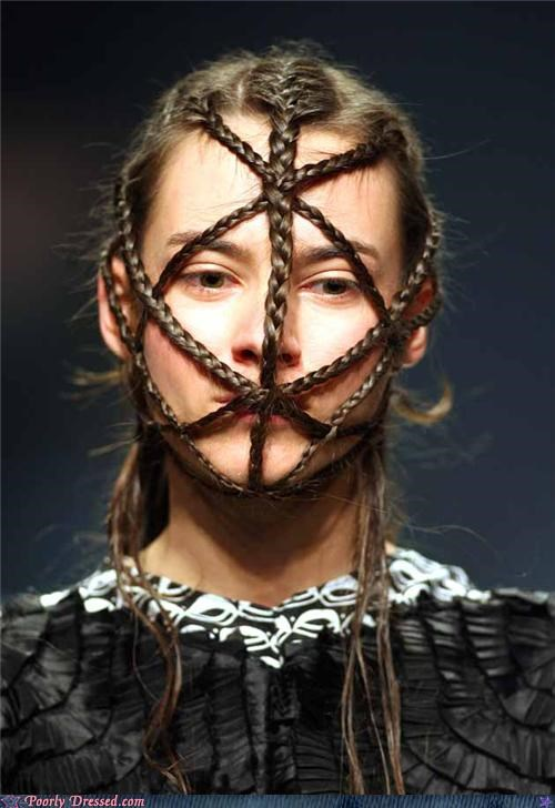 fashion hair lattice mask runway scary weird wtf - 4604365056