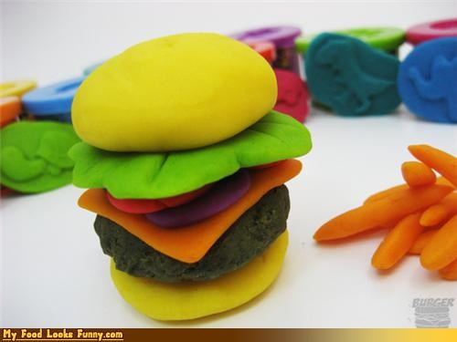 burger inedible nontoxic play-doh sandwich toy - 4604797952