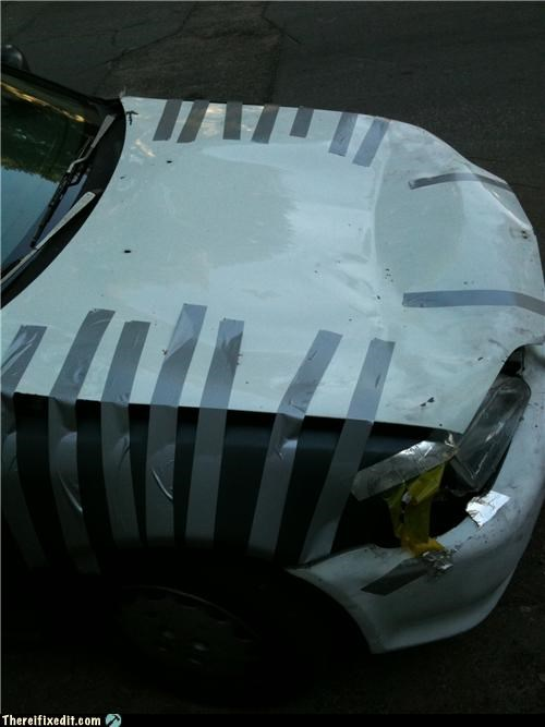 cars duct tape holding it hood - 4604838400