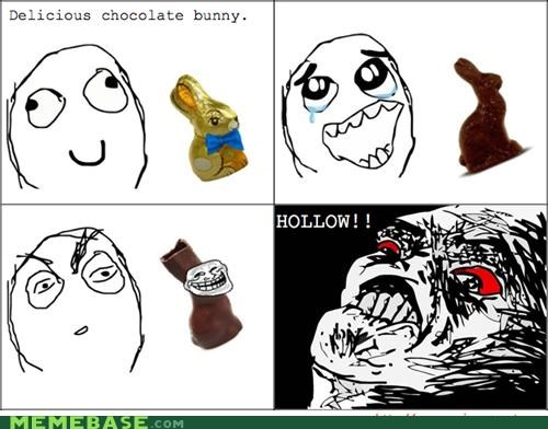 chocolate easter hollow rabbit troll face trolling