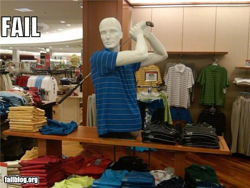 display facepalm failboat golf club g rated mannequin sotre sports