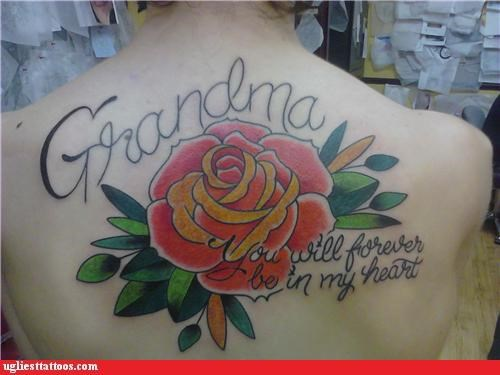 rose backs tattoos grandmas funny - 4605722880