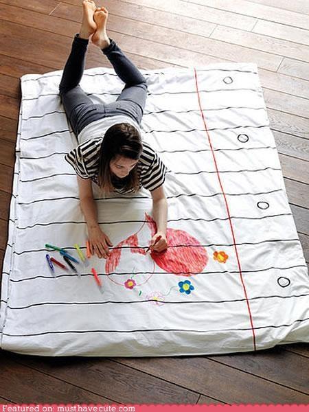bedding doodle duvet markers paper sheets washable - 4605772032