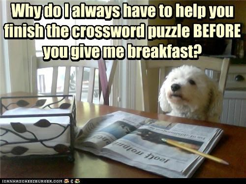 Why do I always have to help you finish the crossword puzzle BEFORE you give me breakfast? Why do I always have to help you finish the crossword puzzle BEFORE you give me breakfast?