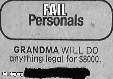 Ad anything failboat family grandma money newspaper - 4606220544
