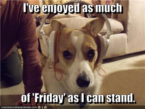 cant-stand-it,corgi,do not want,enjoyed,FRIDAY,headphones,meme,memedogs,Rebecca Black,upset
