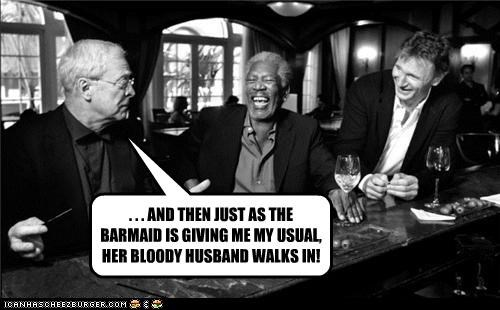 actor,celeb,funny,liam neeson,michael caine,Morgan Freeman