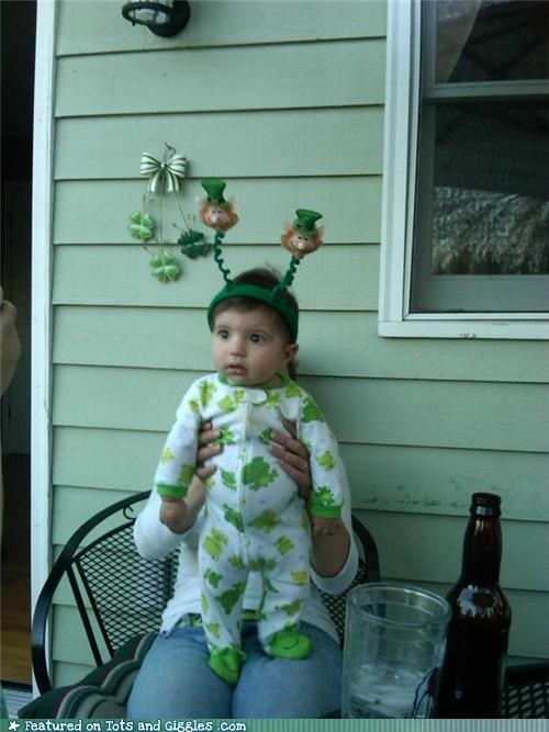 Babies,costume,leprechaun,making faces