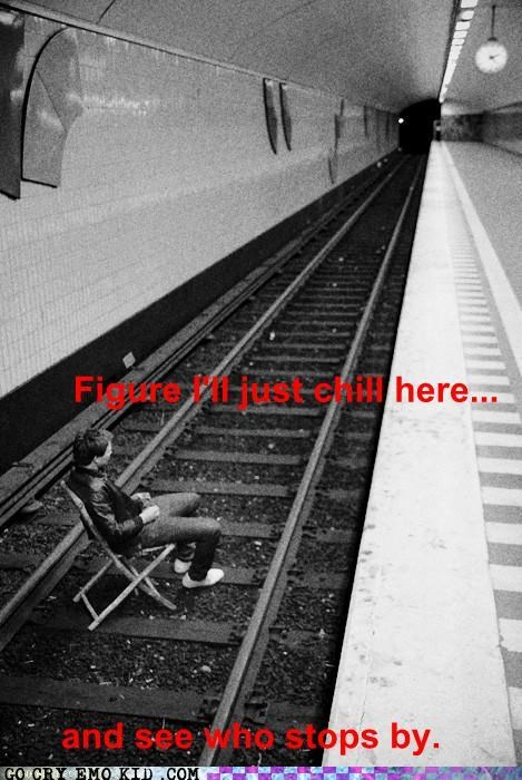 bad idea,chair,Subway,tracks,train